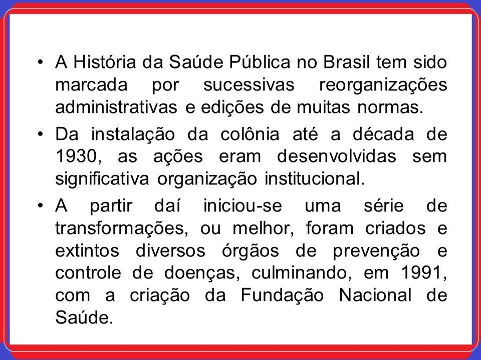 A História da Saúde Pública no Brasil tem sido marcada por sucessivas reorganizações administrativas e edições de muitas normas. Da instalação da colô