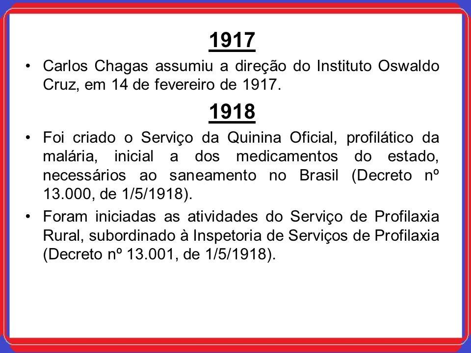 1917 Carlos Chagas assumiu a direção do Instituto Oswaldo Cruz, em 14 de fevereiro de 1917. 1918 Foi criado o Serviço da Quinina Oficial, profilático