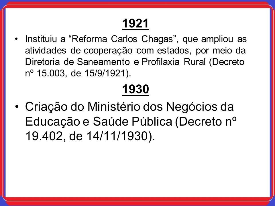 1921 Instituiu a Reforma Carlos Chagas, que ampliou as atividades de cooperação com estados, por meio da Diretoria de Saneamento e Profilaxia Rural (D