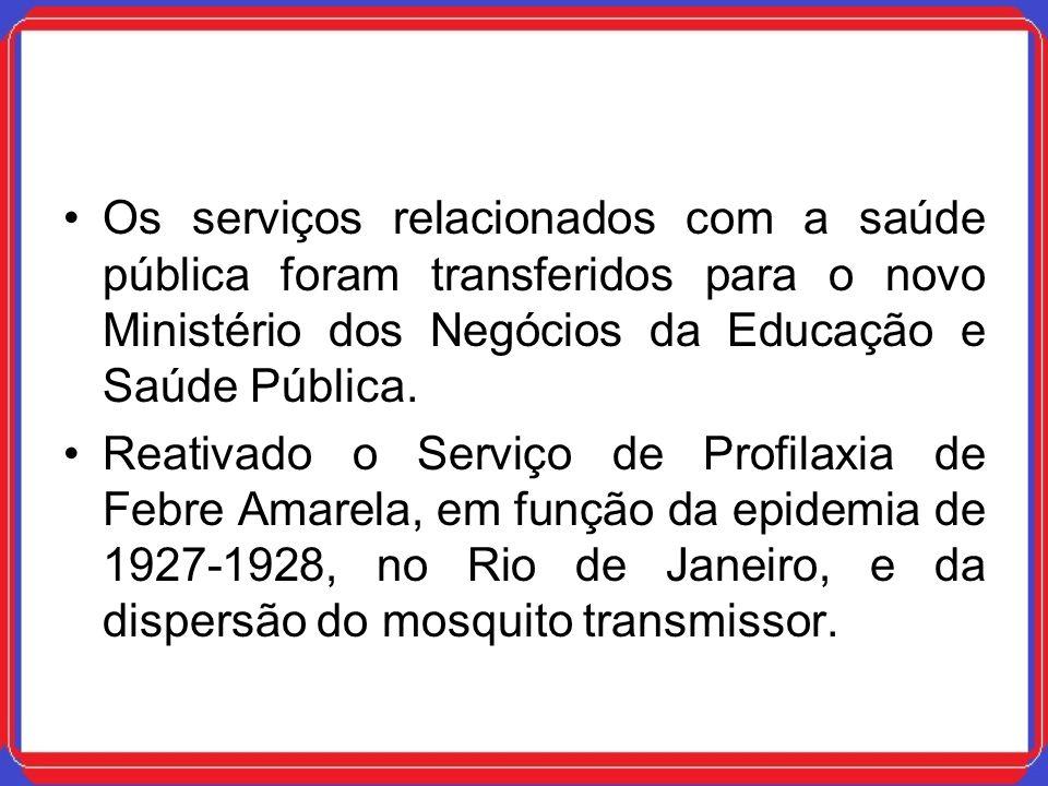 Os serviços relacionados com a saúde pública foram transferidos para o novo Ministério dos Negócios da Educação e Saúde Pública. Reativado o Serviço d