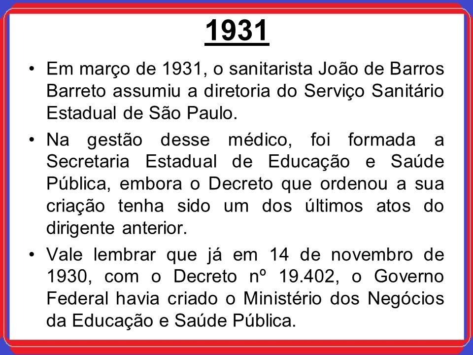 1931 Em março de 1931, o sanitarista João de Barros Barreto assumiu a diretoria do Serviço Sanitário Estadual de São Paulo. Na gestão desse médico, fo