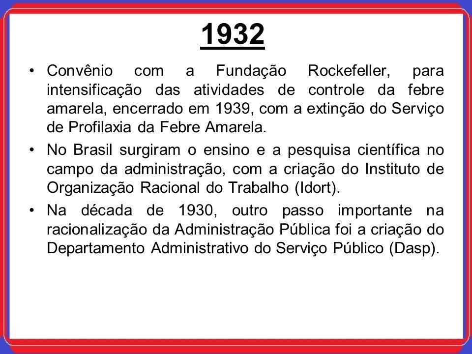 1932 Convênio com a Fundação Rockefeller, para intensificação das atividades de controle da febre amarela, encerrado em 1939, com a extinção do Serviç
