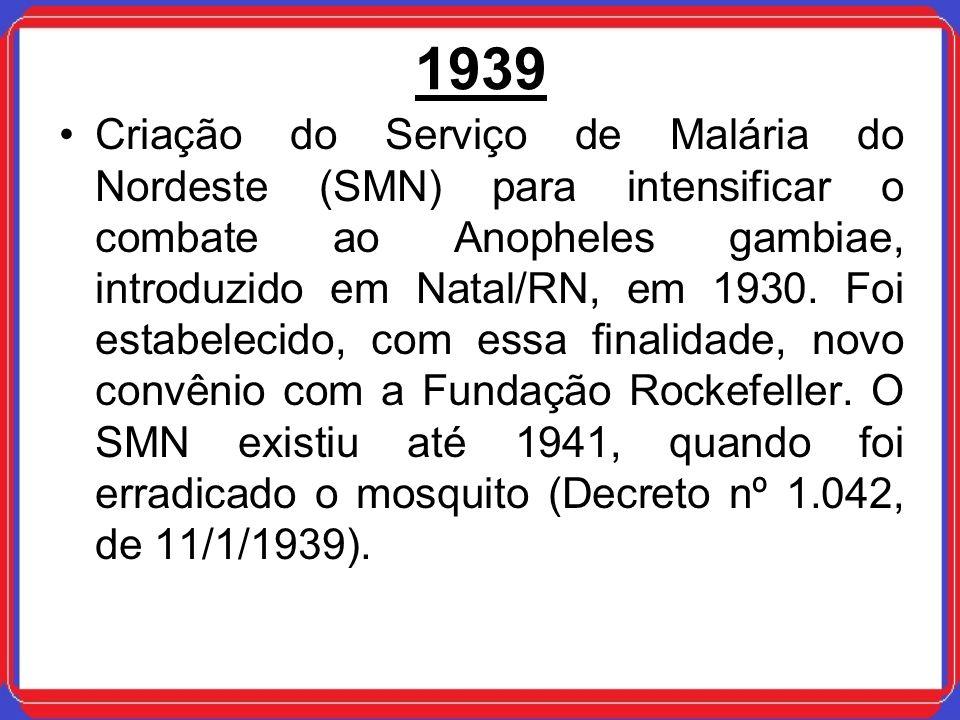 1939 Criação do Serviço de Malária do Nordeste (SMN) para intensificar o combate ao Anopheles gambiae, introduzido em Natal/RN, em 1930. Foi estabelec