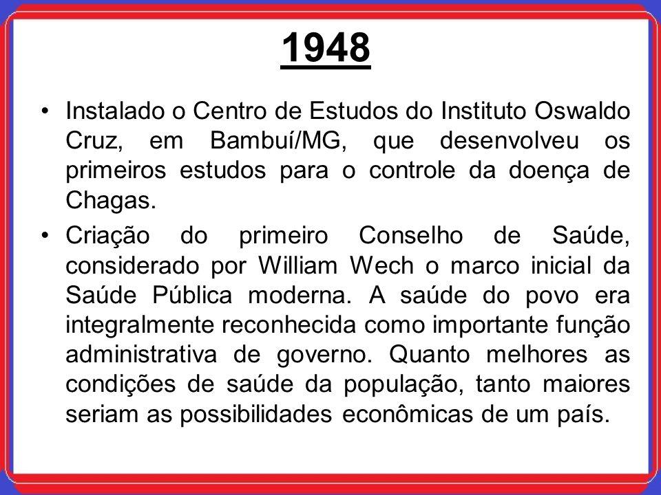 1948 Instalado o Centro de Estudos do Instituto Oswaldo Cruz, em Bambuí/MG, que desenvolveu os primeiros estudos para o controle da doença de Chagas.