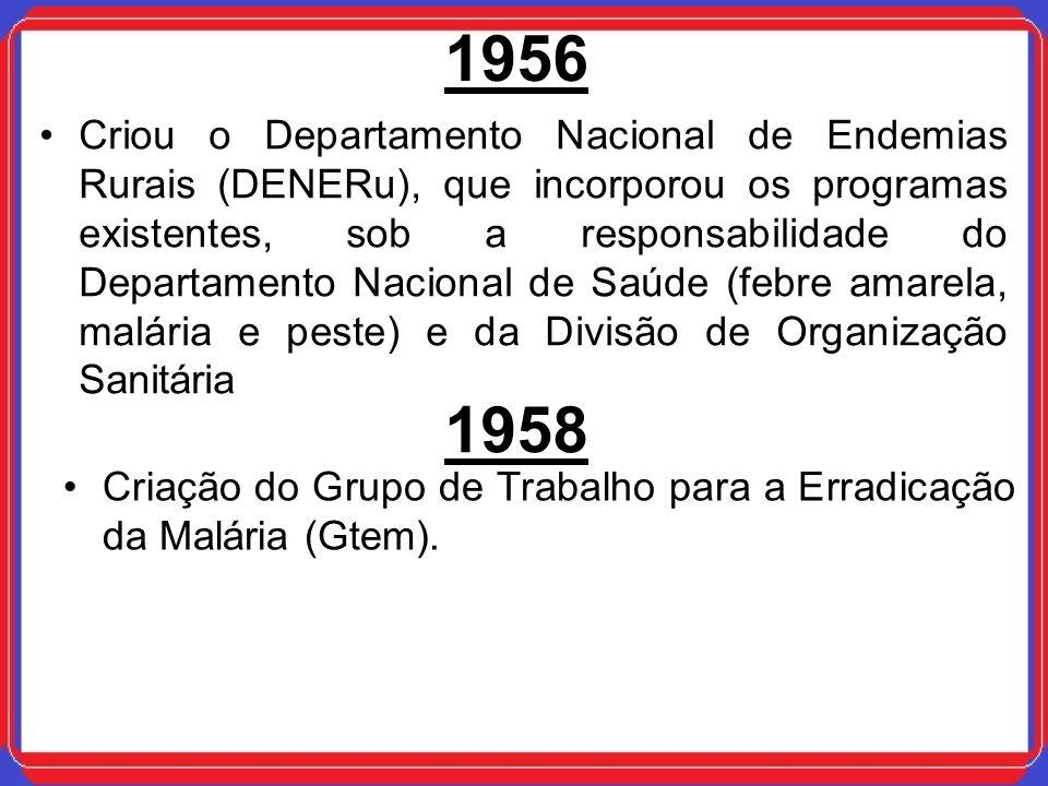 1956 Criou o Departamento Nacional de Endemias Rurais (DENERu), que incorporou os programas existentes, sob a responsabilidade do Departamento Naciona