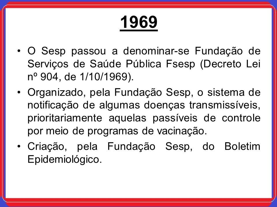 1969 O Sesp passou a denominar-se Fundação de Serviços de Saúde Pública Fsesp (Decreto Lei nº 904, de 1/10/1969). Organizado, pela Fundação Sesp, o si