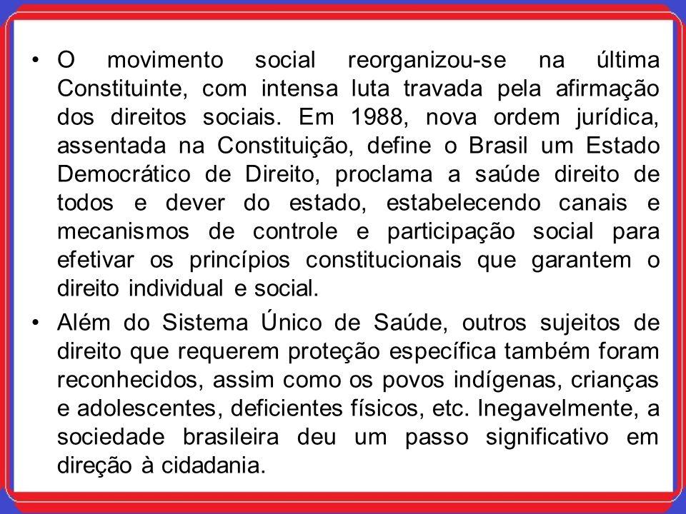 O movimento social reorganizou-se na última Constituinte, com intensa luta travada pela afirmação dos direitos sociais. Em 1988, nova ordem jurídica,