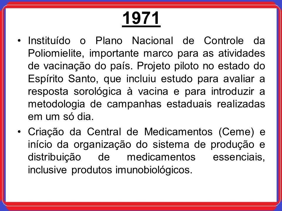 1971 Instituído o Plano Nacional de Controle da Poliomielite, importante marco para as atividades de vacinação do país. Projeto piloto no estado do Es