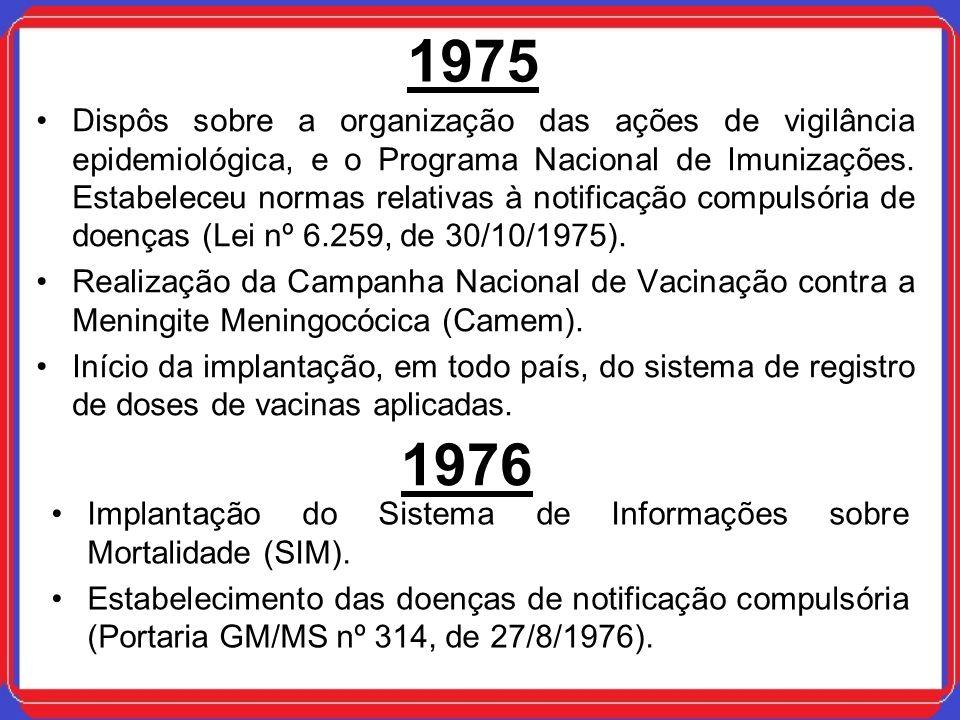 1975 Dispôs sobre a organização das ações de vigilância epidemiológica, e o Programa Nacional de Imunizações. Estabeleceu normas relativas à notificaç