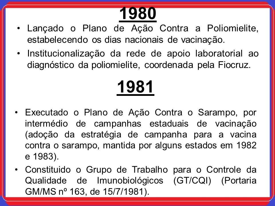 1980 Lançado o Plano de Ação Contra a Poliomielite, estabelecendo os dias nacionais de vacinação. Institucionalização da rede de apoio laboratorial ao