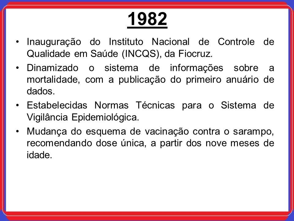 1982 Inauguração do Instituto Nacional de Controle de Qualidade em Saúde (INCQS), da Fiocruz. Dinamizado o sistema de informações sobre a mortalidade,