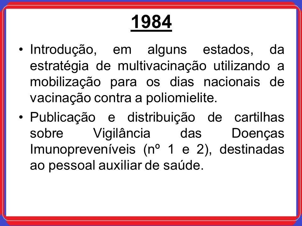 1984 Introdução, em alguns estados, da estratégia de multivacinação utilizando a mobilização para os dias nacionais de vacinação contra a poliomielite