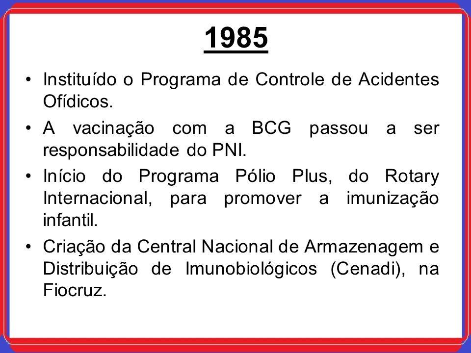 1985 Instituído o Programa de Controle de Acidentes Ofídicos. A vacinação com a BCG passou a ser responsabilidade do PNI. Início do Programa Pólio Plu