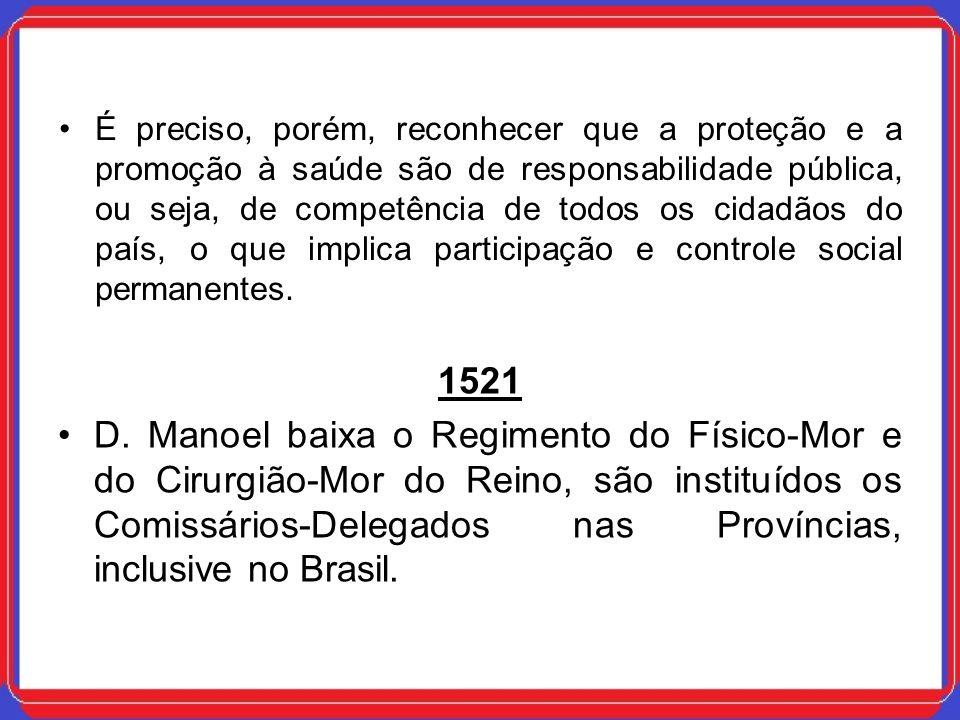1521 D. Manoel baixa o Regimento do Físico-Mor e do Cirurgião-Mor do Reino, são instituídos os Comissários-Delegados nas Províncias, inclusive no Bras