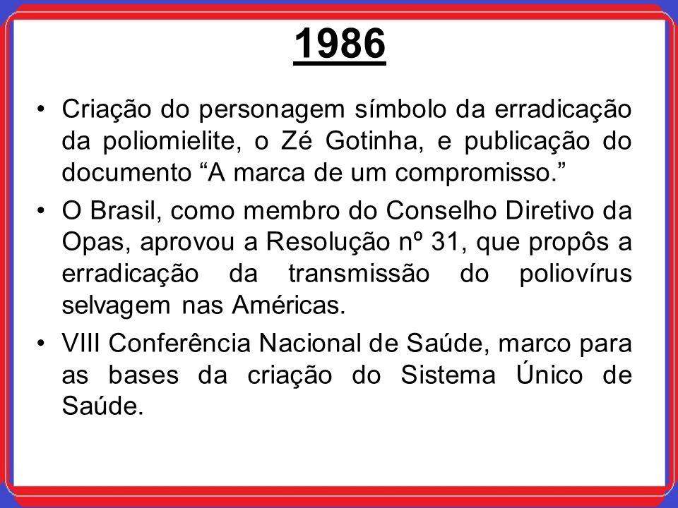 1986 Criação do personagem símbolo da erradicação da poliomielite, o Zé Gotinha, e publicação do documento A marca de um compromisso. O Brasil, como m
