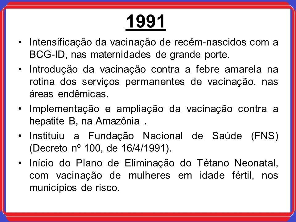 1991 Intensificação da vacinação de recém-nascidos com a BCG-ID, nas maternidades de grande porte. Introdução da vacinação contra a febre amarela na r