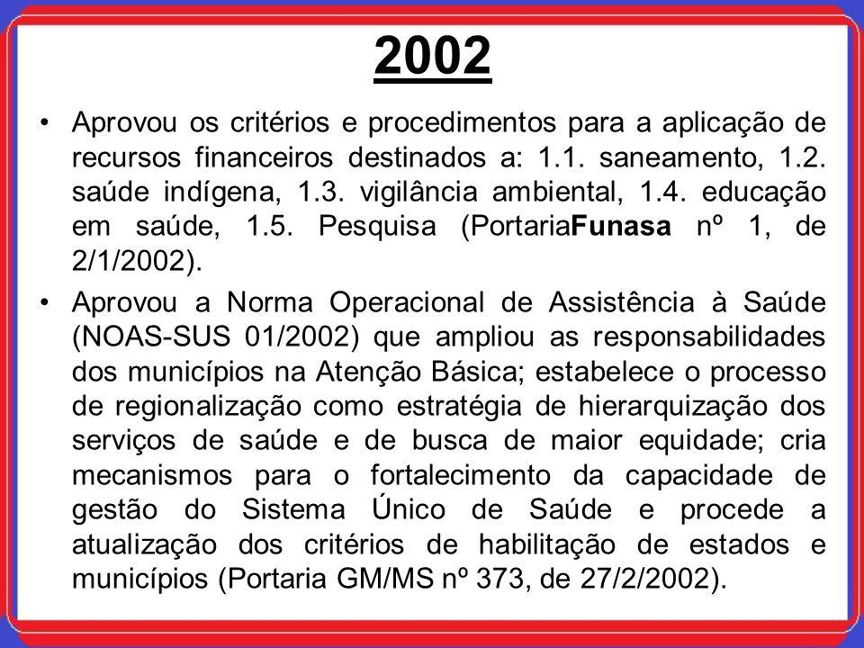 2002 Aprovou os critérios e procedimentos para a aplicação de recursos financeiros destinados a: 1.1. saneamento, 1.2. saúde indígena, 1.3. vigilância