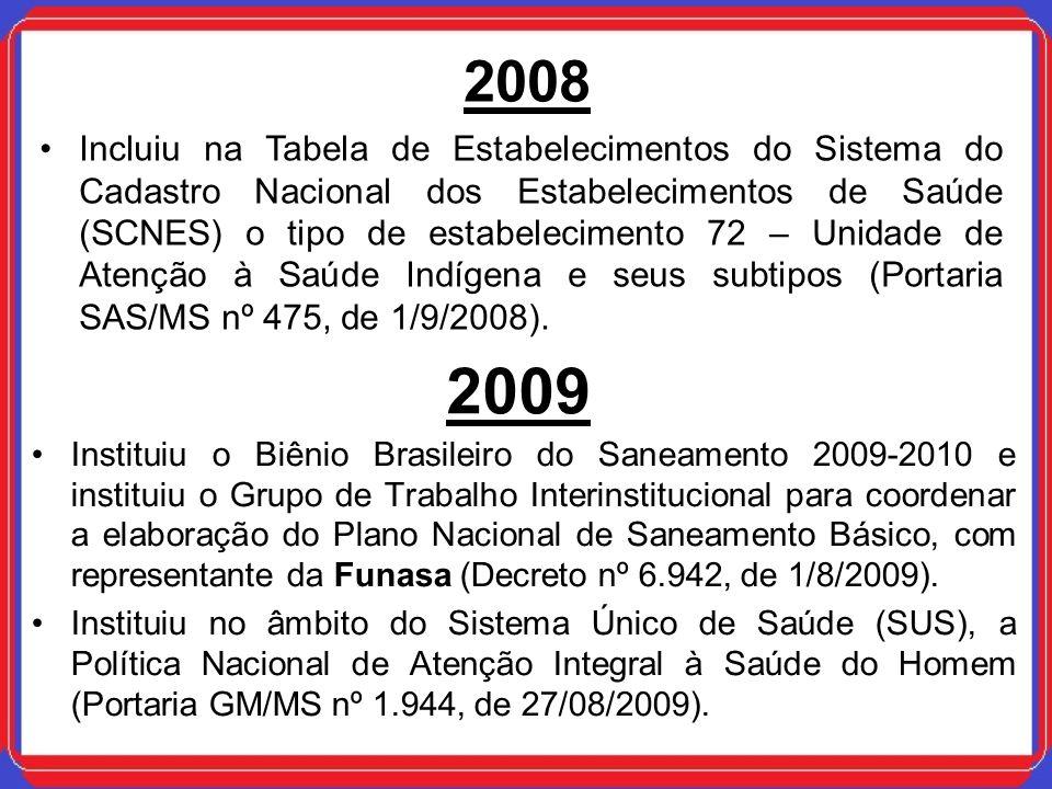 2009 Instituiu o Biênio Brasileiro do Saneamento 2009-2010 e instituiu o Grupo de Trabalho Interinstitucional para coordenar a elaboração do Plano Nac