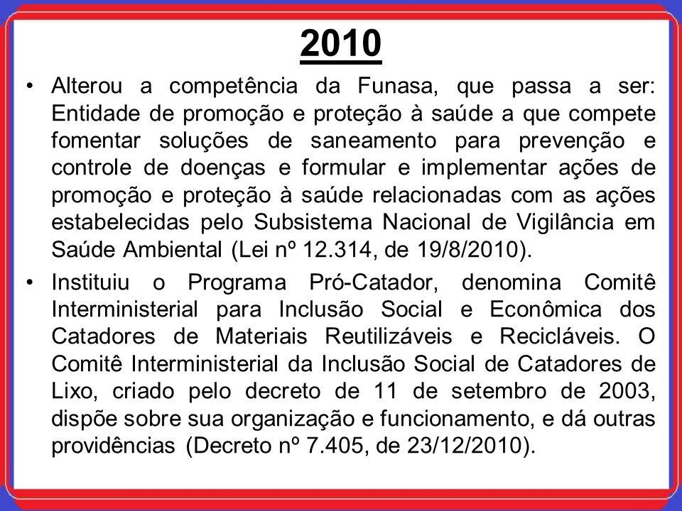 2010 Alterou a competência da Funasa, que passa a ser: Entidade de promoção e proteção à saúde a que compete fomentar soluções de saneamento para prev