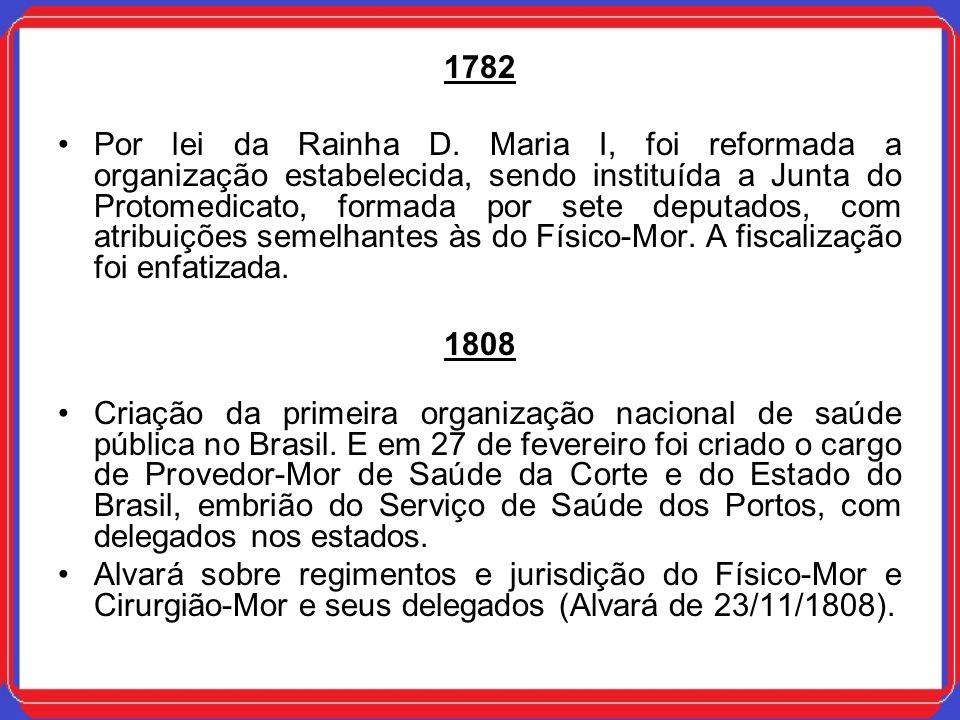 1828 Após a Independência, foi promulgada, em 30 de agosto, a lei de Municipalização dos Serviços de Saúde, que conferiu às Juntas Municipais, então criadas, as funções exercidas anteriormente pelo Físico-Mor, Cirurgião-Mor e seus Delegados.
