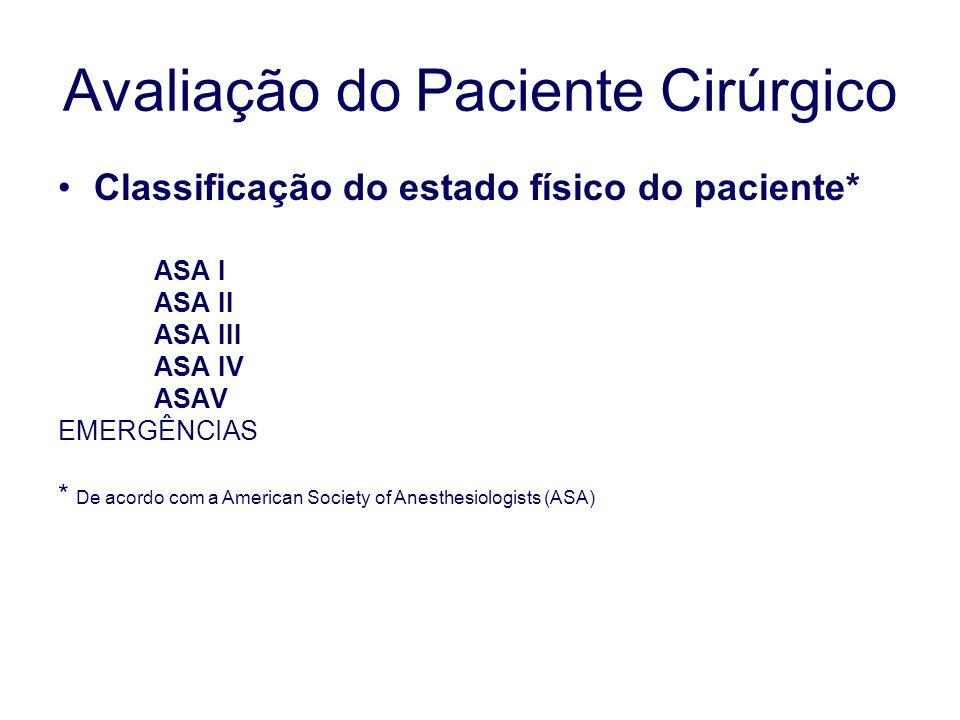 Classificação do estado físico do paciente* ASA I ASA II ASA III ASA IV ASAV EMERGÊNCIAS * De acordo com a American Society of Anesthesiologists (ASA) Avaliação do Paciente Cirúrgico