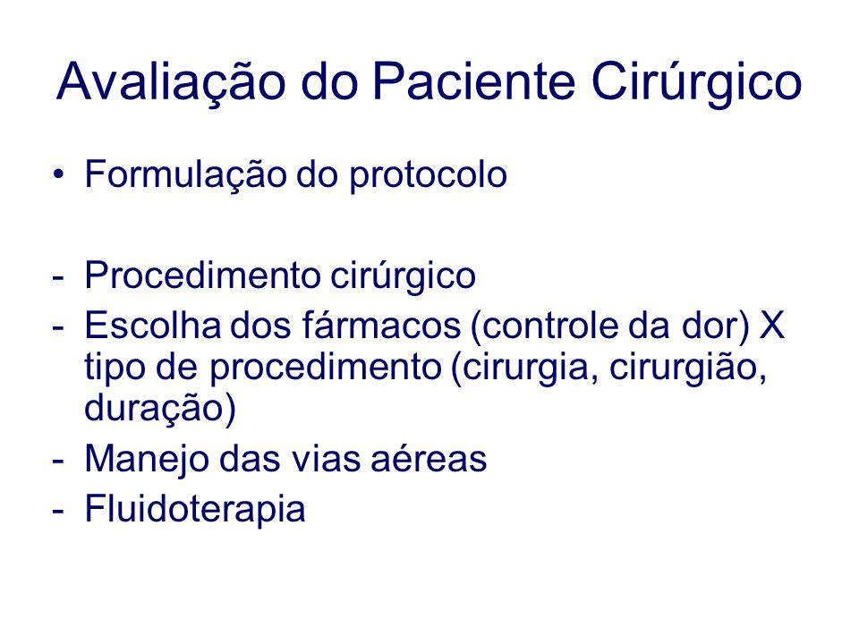 Avaliação do Paciente Cirúrgico Formulação do protocolo -Procedimento cirúrgico -Escolha dos fármacos (controle da dor) X tipo de procedimento (cirurgia, cirurgião, duração) -Manejo das vias aéreas -Fluidoterapia