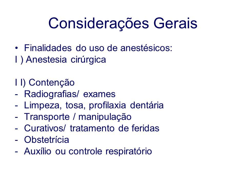 Considerações Gerais Finalidades do uso de anestésicos: I ) Anestesia cirúrgica I I) Contenção -Radiografias/ exames -Limpeza, tosa, profilaxia dentária -Transporte / manipulação -Curativos/ tratamento de feridas -Obstetrícia -Auxílio ou controle respiratório