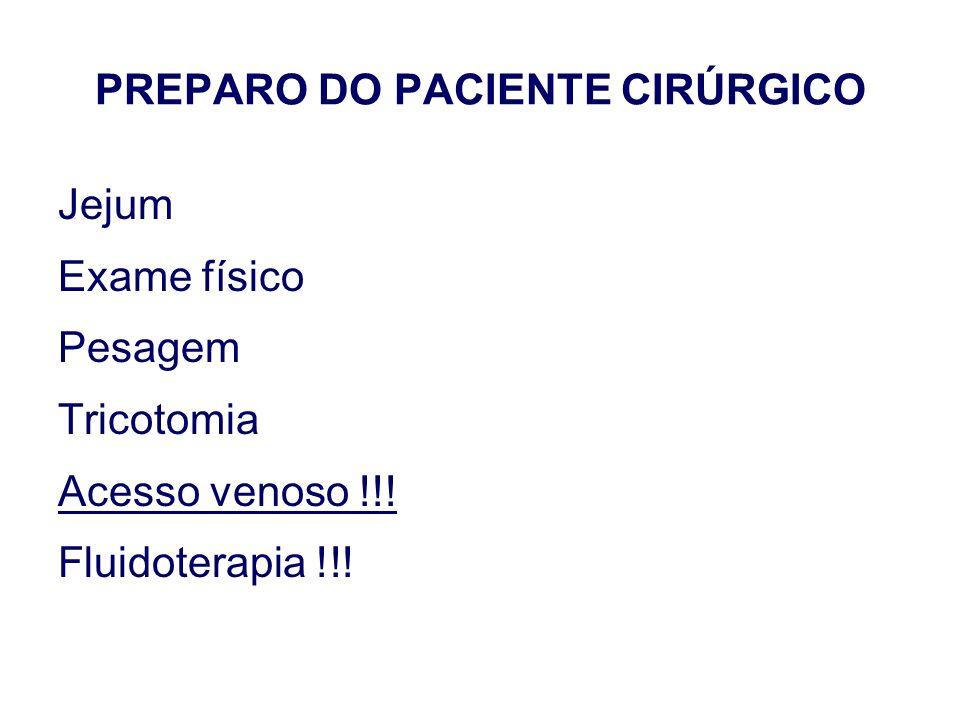PREPARO DO PACIENTE CIRÚRGICO Jejum Exame físico Pesagem Tricotomia Acesso venoso !!! Fluidoterapia !!!
