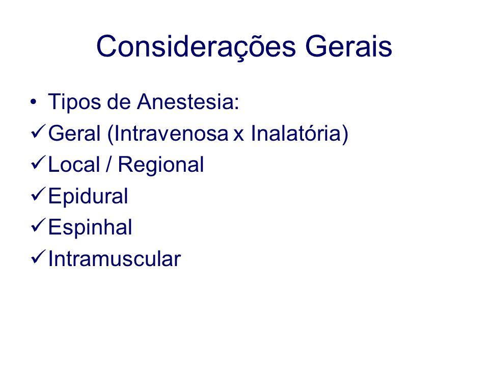 Considerações Gerais Tipos de Anestesia: Geral (Intravenosa x Inalatória) Local / Regional Epidural Espinhal Intramuscular
