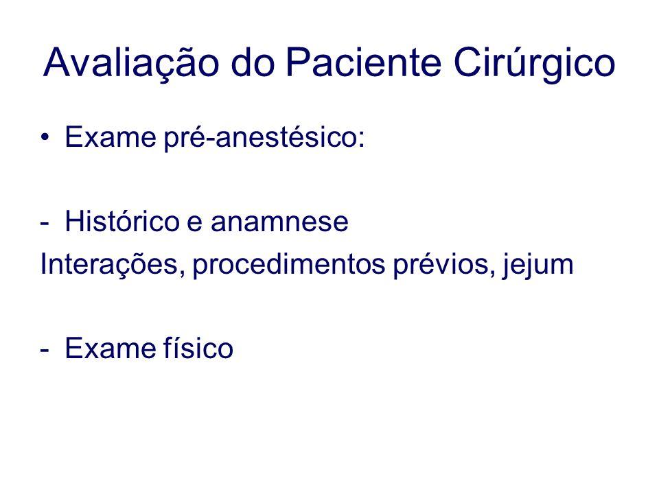 Avaliação do Paciente Cirúrgico Exame pré-anestésico: -Histórico e anamnese Interações, procedimentos prévios, jejum -Exame físico