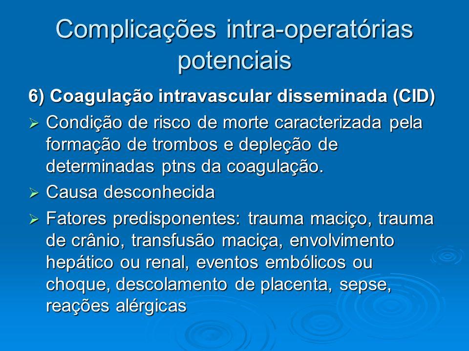 Complicações intra-operatórias potenciais 6) Coagulação intravascular disseminada (CID) Condição de risco de morte caracterizada pela formação de trom