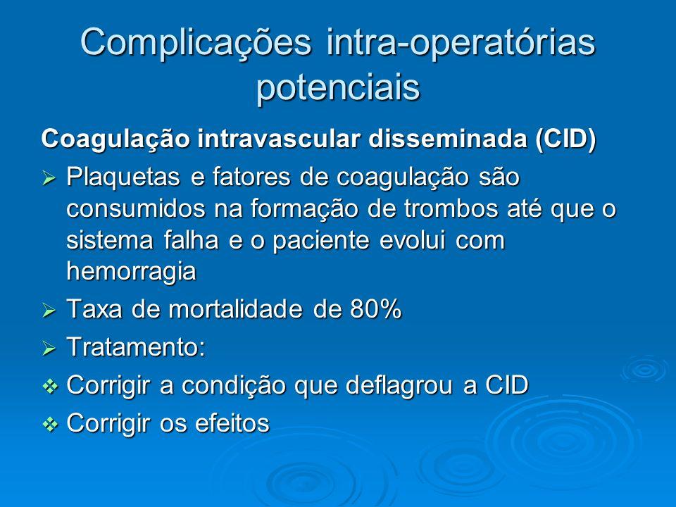 Complicações intra-operatórias potenciais Coagulação intravascular disseminada (CID) Plaquetas e fatores de coagulação são consumidos na formação de t