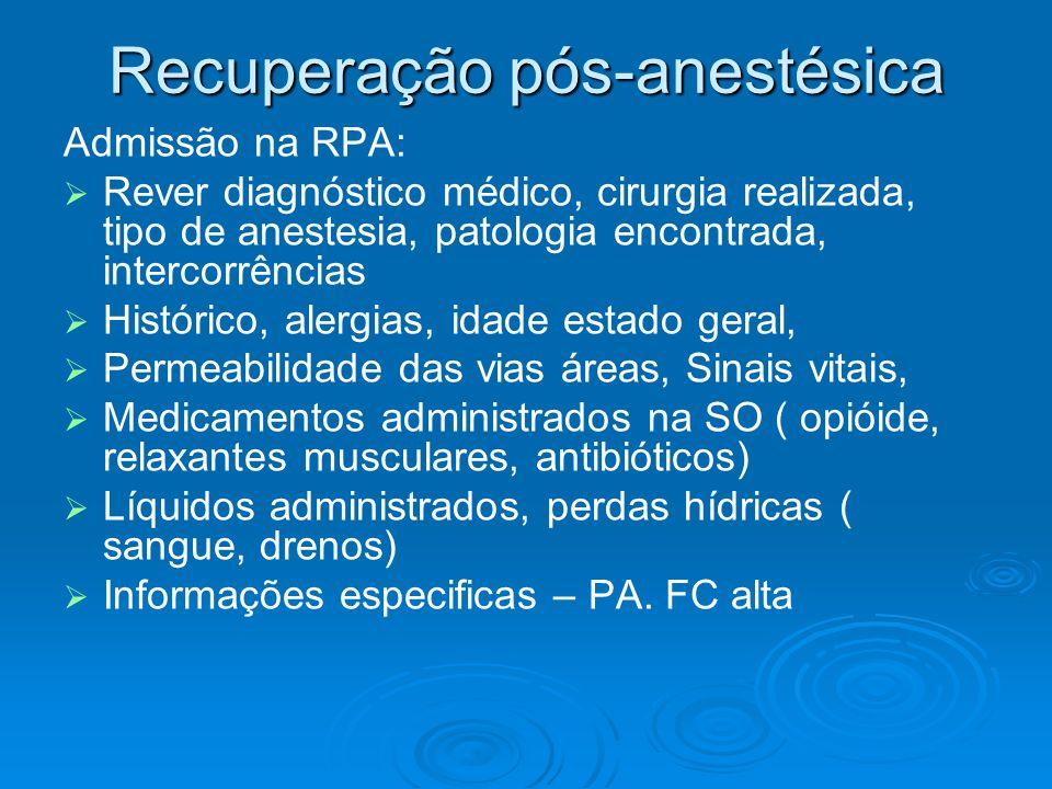 Recuperação pós-anestésica Admissão na RPA: Rever diagnóstico médico, cirurgia realizada, tipo de anestesia, patologia encontrada, intercorrências His