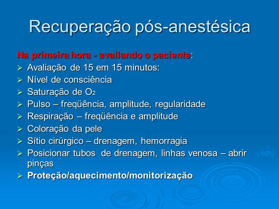 Recuperação pós-anestésica Na primeira hora - avaliando o paciente: Avaliação de 15 em 15 minutos: Avaliação de 15 em 15 minutos: Nível de consciência