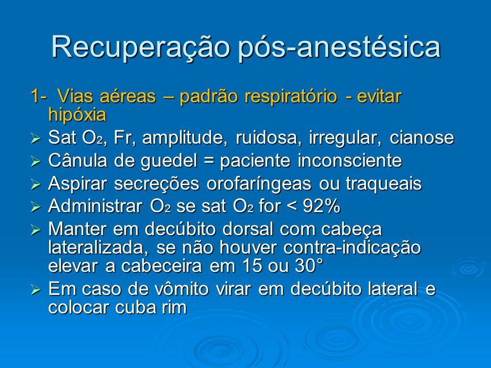 Recuperação pós-anestésica 1- Vias aéreas – padrão respiratório - evitar hipóxia Sat O 2, Fr, amplitude, ruidosa, irregular, cianose Sat O 2, Fr, ampl