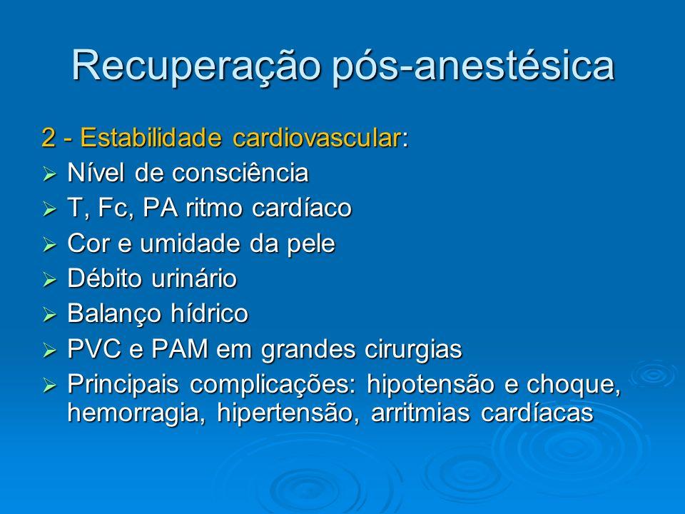 Recuperação pós-anestésica 2 - Estabilidade cardiovascular: Nível de consciência Nível de consciência T, Fc, PA ritmo cardíaco T, Fc, PA ritmo cardíac