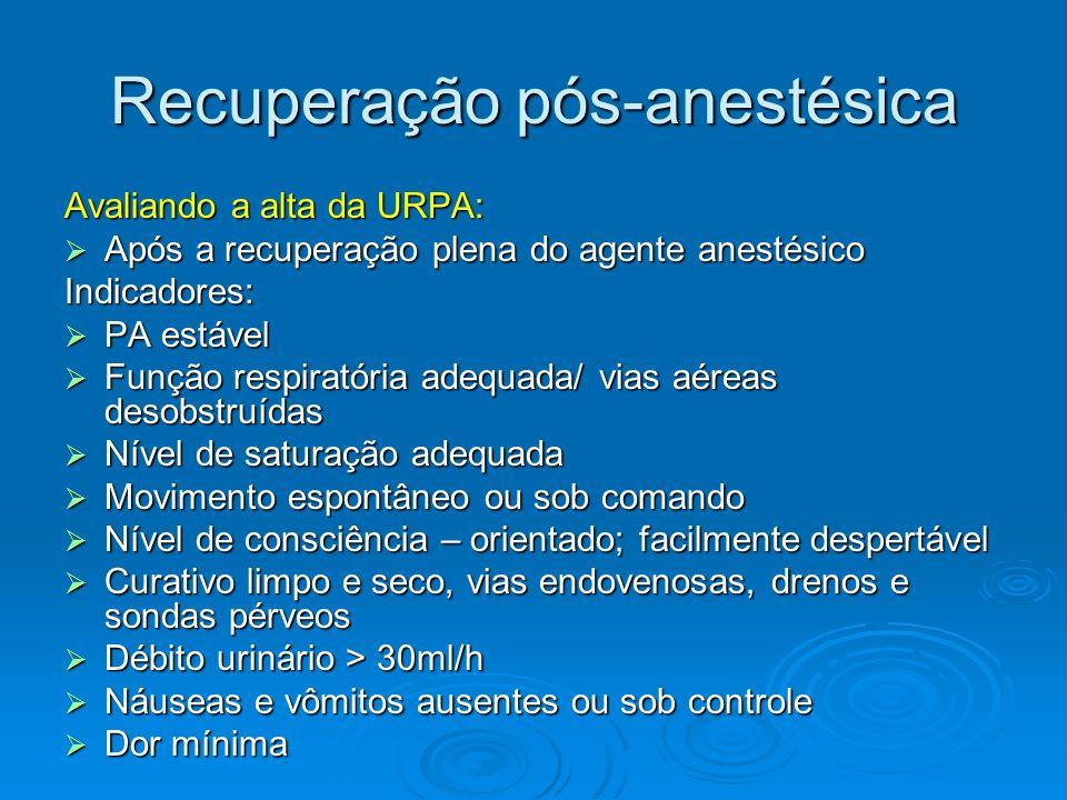 Recuperação pós-anestésica Avaliando a alta da URPA: Após a recuperação plena do agente anestésico Após a recuperação plena do agente anestésicoIndica