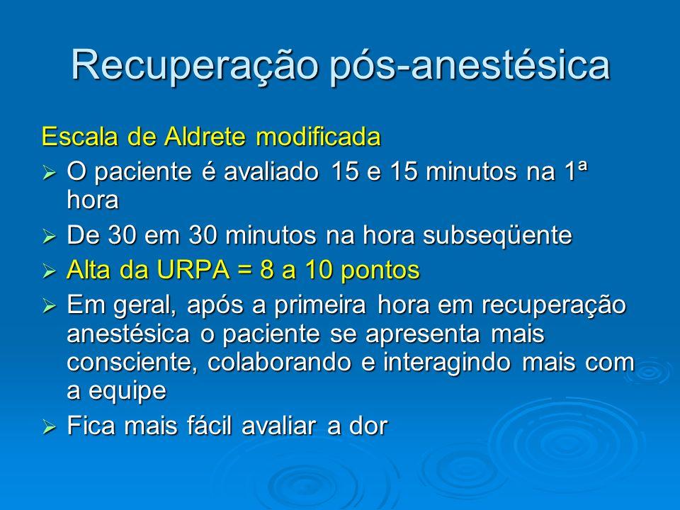 Recuperação pós-anestésica Escala de Aldrete modificada O paciente é avaliado 15 e 15 minutos na 1ª hora O paciente é avaliado 15 e 15 minutos na 1ª h