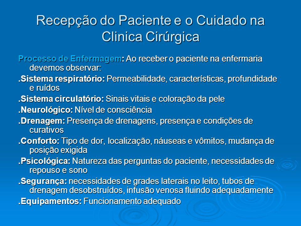Recepção do Paciente e o Cuidado na Clinica Cirúrgica Processo de Enfermagem: Ao receber o paciente na enfermaria devemos observar:.Sistema respiratór