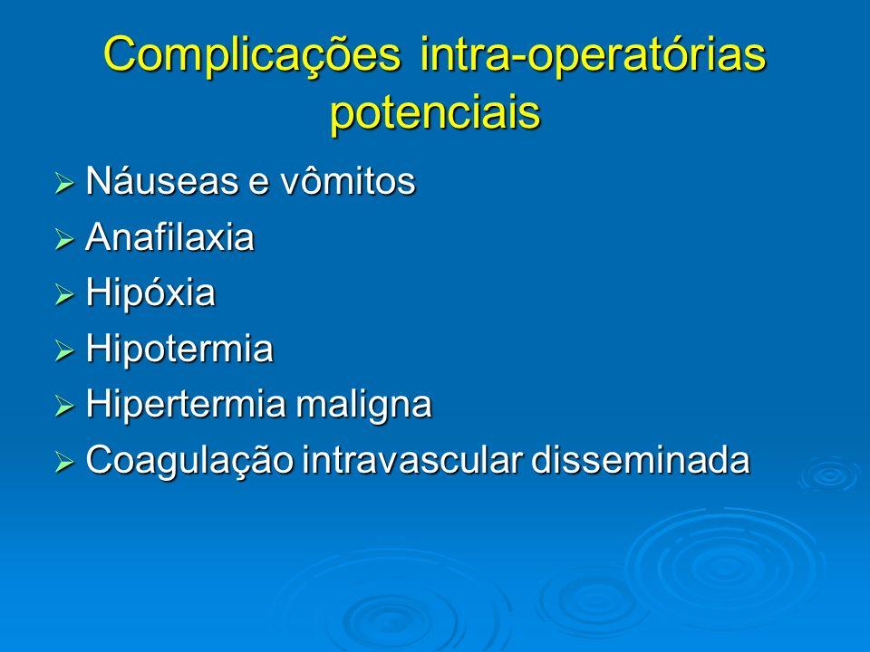 Complicações intra-operatórias potenciais 1) Náuseas e vômitos ou regurgitação Virar o paciente de lado, cabeceira mais baixa Virar o paciente de lado, cabeceira mais baixa Aspirar a saliva e o conteúdo gástrico eliminado Aspirar a saliva e o conteúdo gástrico eliminado Antieméticos pré ou intra-operatório Antieméticos pré ou intra-operatório Caso haja broncoaspiração (broncoespasmo/sibilos): risco de pneumonite e edema pulmonar gerando hipóxia Caso haja broncoaspiração (broncoespasmo/sibilos): risco de pneumonite e edema pulmonar gerando hipóxia Atentar para regurgitação silenciosa Atentar para regurgitação silenciosa