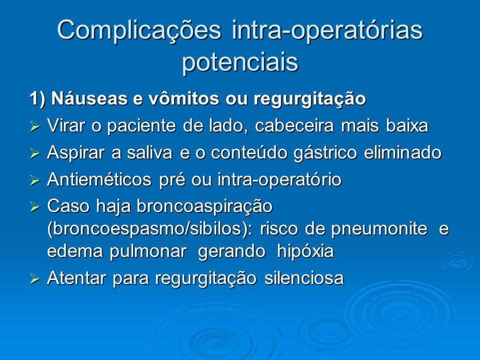 Complicações intra-operatórias potenciais 1) Náuseas e vômitos ou regurgitação Virar o paciente de lado, cabeceira mais baixa Virar o paciente de lado