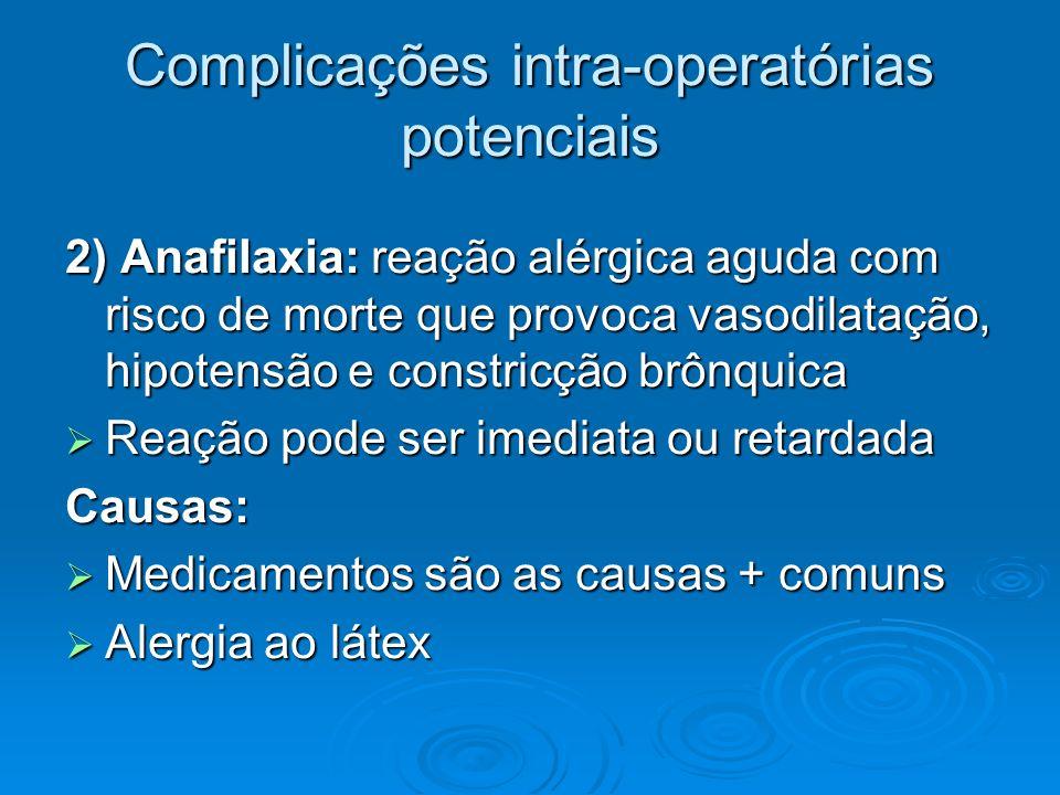 Complicações intra-operatórias potenciais 2) Anafilaxia: reação alérgica aguda com risco de morte que provoca vasodilatação, hipotensão e constricção