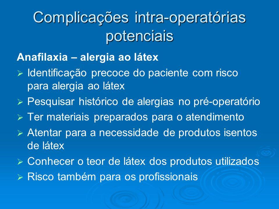 Complicações intra-operatórias potenciais Anafilaxia – alergia ao látex Identificação precoce do paciente com risco para alergia ao látex Pesquisar hi