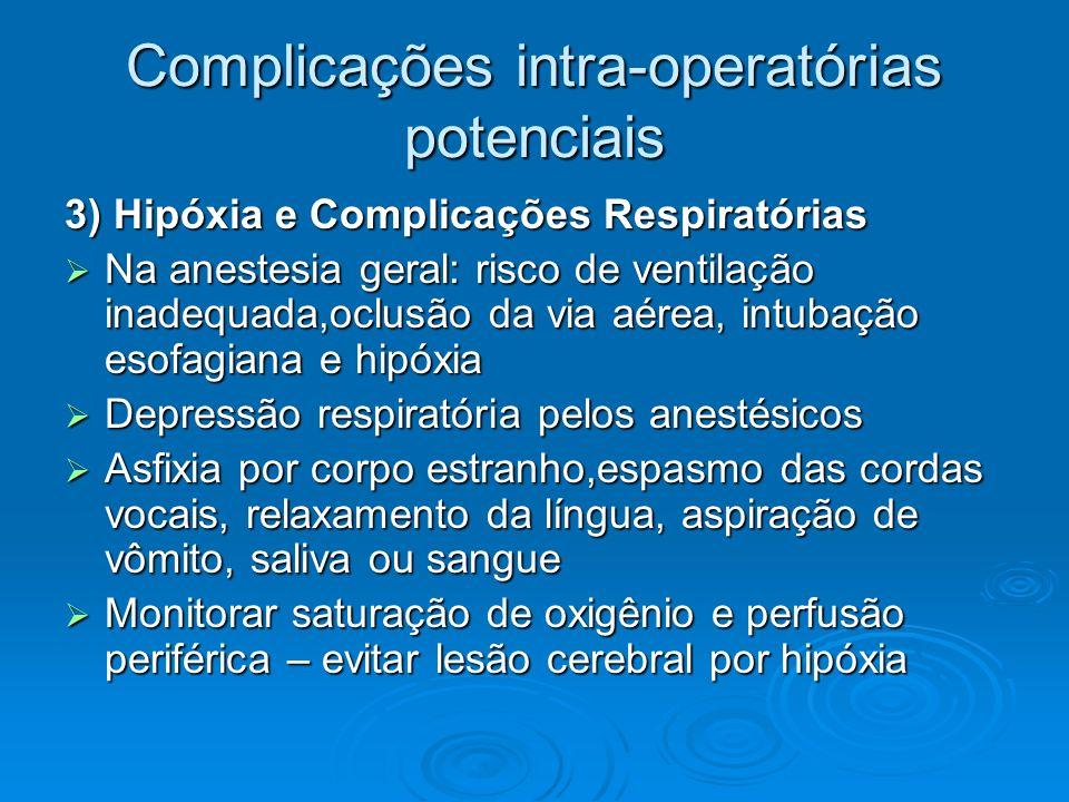Recuperação pós-anestésica 1- Vias aéreas – padrão respiratório - evitar hipóxia Sat O 2, Fr, amplitude, ruidosa, irregular, cianose Sat O 2, Fr, amplitude, ruidosa, irregular, cianose Cânula de guedel = paciente inconsciente Cânula de guedel = paciente inconsciente Aspirar secreções orofaríngeas ou traqueais Aspirar secreções orofaríngeas ou traqueais Administrar O 2 se sat O 2 for < 92% Administrar O 2 se sat O 2 for < 92% Manter em decúbito dorsal com cabeça lateralizada, se não houver contra-indicação elevar a cabeceira em 15 ou 30° Manter em decúbito dorsal com cabeça lateralizada, se não houver contra-indicação elevar a cabeceira em 15 ou 30° Em caso de vômito virar em decúbito lateral e colocar cuba rim Em caso de vômito virar em decúbito lateral e colocar cuba rim