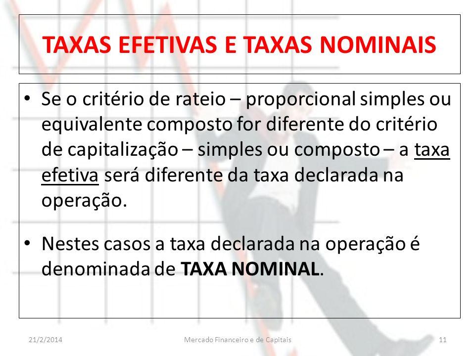 TAXAS EFETIVAS E TAXAS NOMINAIS Se o critério de rateio – proporcional simples ou equivalente composto for diferente do critério de capitalização – si