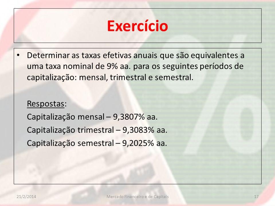 Exercício Determinar as taxas efetivas anuais que são equivalentes a uma taxa nominal de 9% aa. para os seguintes períodos de capitalização: mensal, t