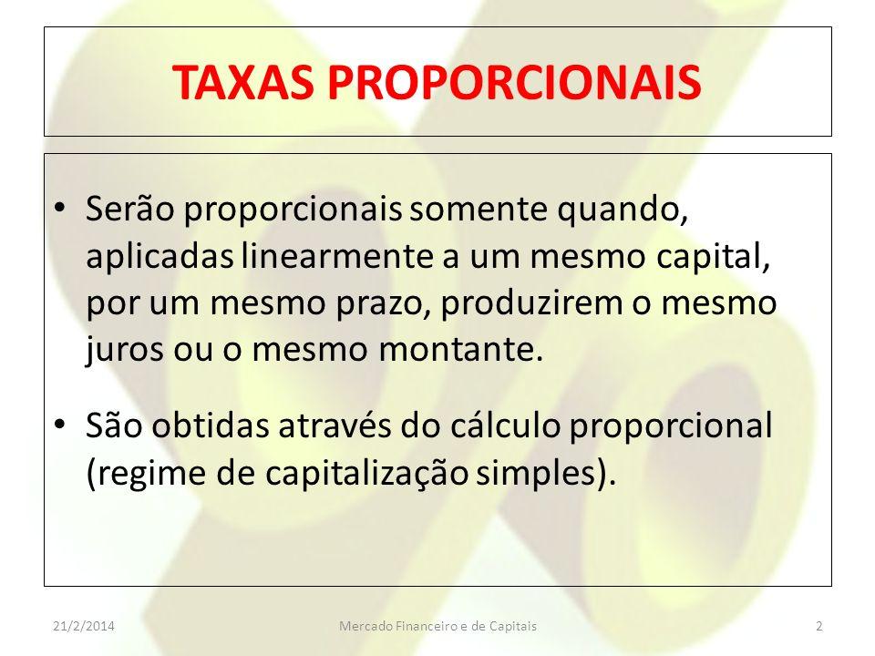 TAXAS PROPORCIONAIS Serão proporcionais somente quando, aplicadas linearmente a um mesmo capital, por um mesmo prazo, produzirem o mesmo juros ou o me
