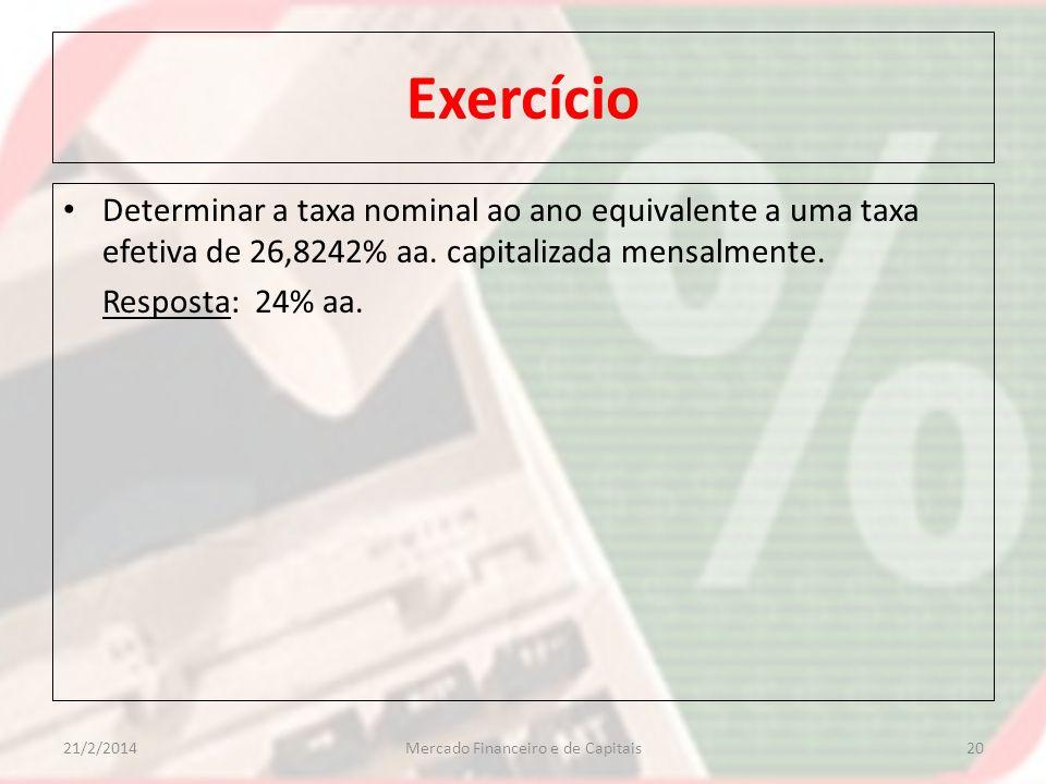 Exercício Determinar a taxa nominal ao ano equivalente a uma taxa efetiva de 26,8242% aa. capitalizada mensalmente. Resposta: 24% aa. 2021/2/2014Merca