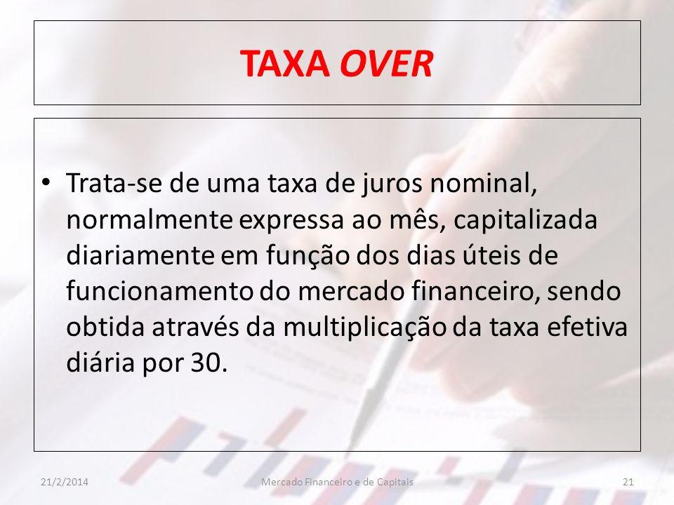 TAXA OVER Trata-se de uma taxa de juros nominal, normalmente expressa ao mês, capitalizada diariamente em função dos dias úteis de funcionamento do me