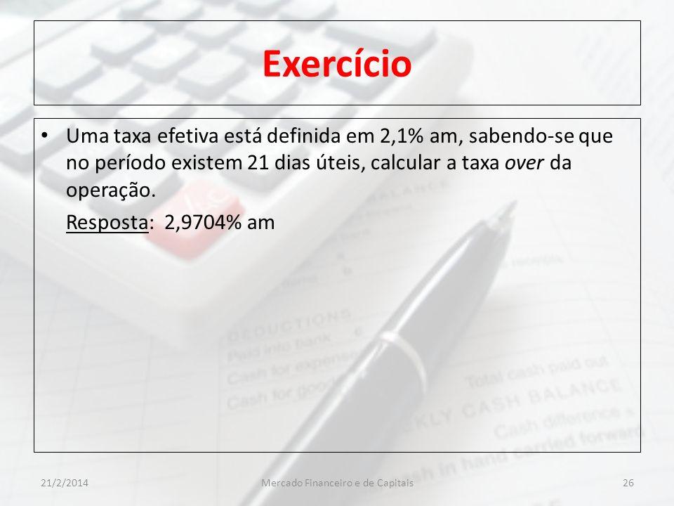 Exercício Uma taxa efetiva está definida em 2,1% am, sabendo-se que no período existem 21 dias úteis, calcular a taxa over da operação. Resposta: 2,97